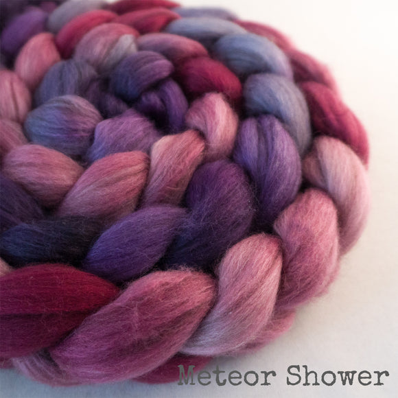 Merino Yak Silk Roving - Meteor Shower