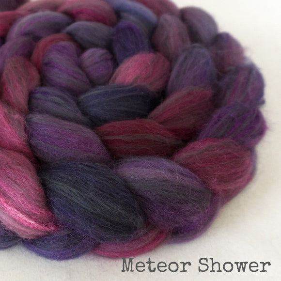 Polwarth Black Bamboo Silk Roving - Meteor Shower