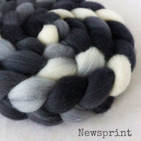 Falkland Wool Roving - Newsprint