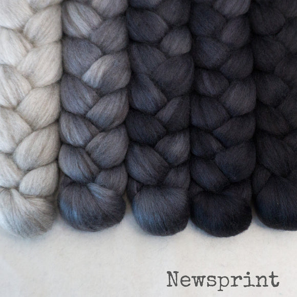Merino Yak Silk Roving - Newsprint - Bundle