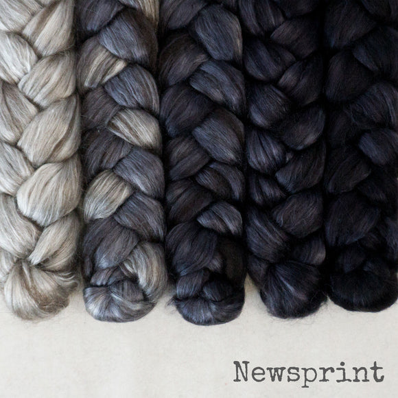 Yak Silk Roving - Newsprint - Bundle