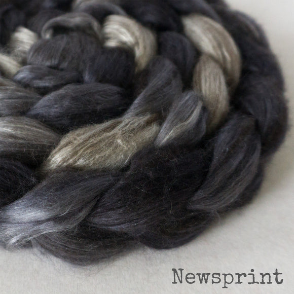 Yak Silk Roving - Newsprint
