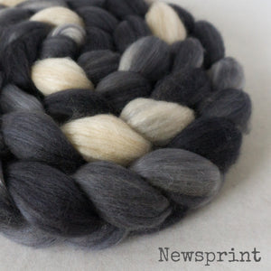 Merino Camel Silk Roving - Newsprint
