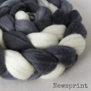 Merino Silk Cashmere Roving - Newsprint