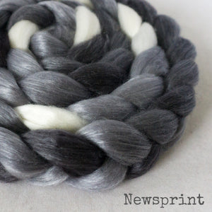 Merino Tencel Roving - Newsprint