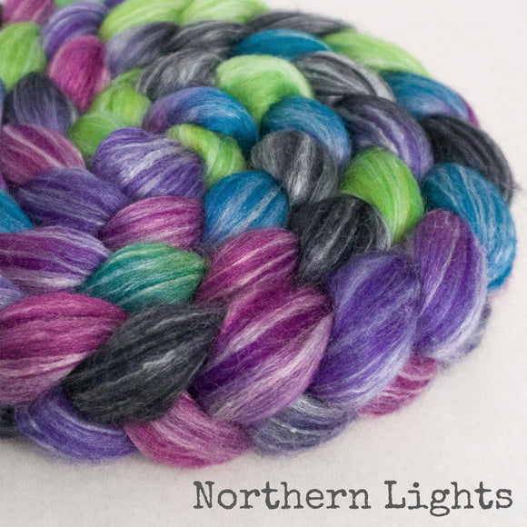 Merino Bamboo Silk Roving - Northern Lights