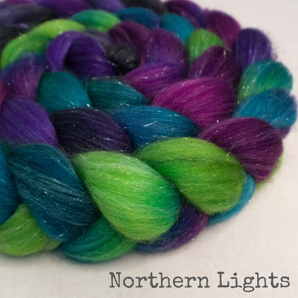 Glitter Roving - Northern Lights - Silver