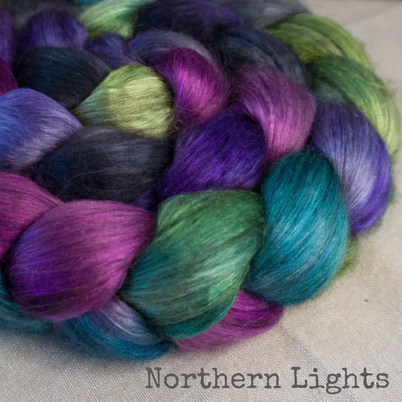 Yak Silk Roving - Northern Lights