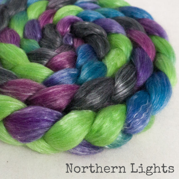 Merino Tencel Roving - Northern Lights