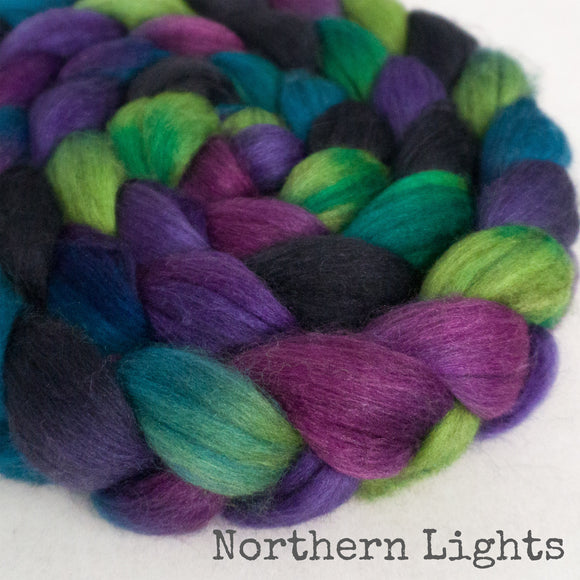 Merino Yak Silk Roving - Northern Lights