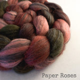Polwarth Black Bamboo Silk Roving - Paper Roses