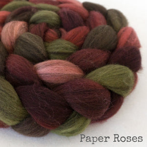 Heathered BFL Roving - Paper Roses