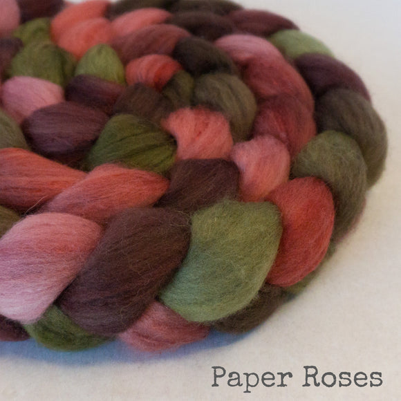 Organic Polwarth Mulberry Silk Roving - Paper Roses