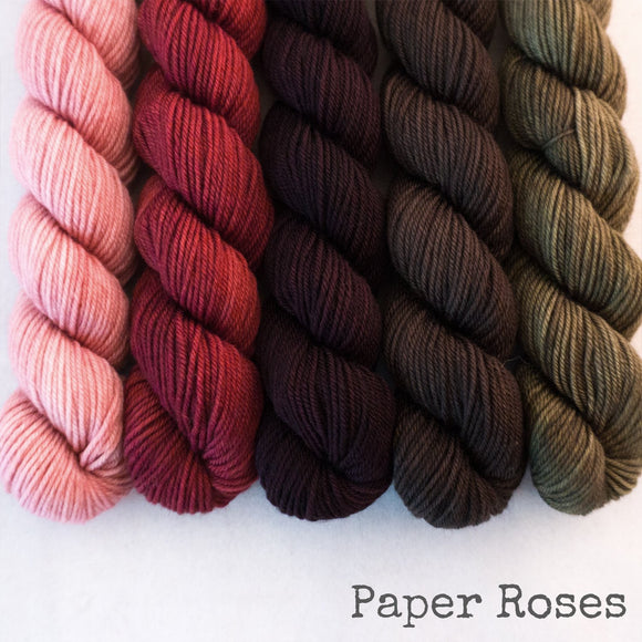 Simply Sock 5-Pack Mini Skeins in Paper Roses Semi Solid