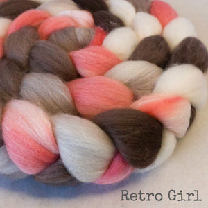 Organic Polwarth Mulberry Silk Roving - Retro Girl