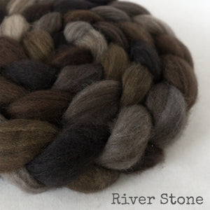 Heathered BFL Roving - River Stone