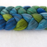 Polwarth Black Bamboo Silk Roving - Seaglass