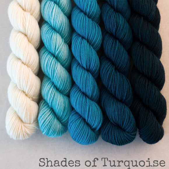 Simply Sock 5-Pack Mini Skeins in Shades of Turquoise Semi Solid