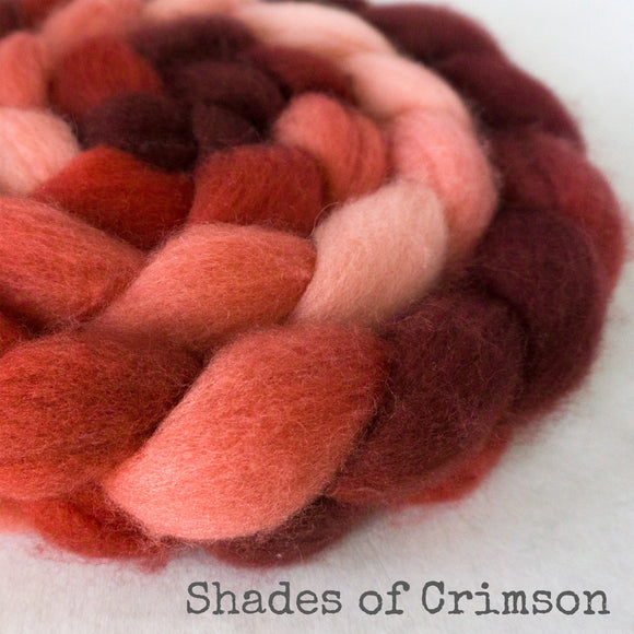 BFL Wool Roving - Shades of Crimson