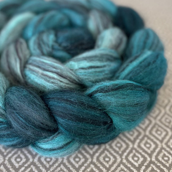 Black Bamboo Silk Roving - Shades of Turquoise