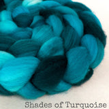 Sock Roving - Shades of Turquoise