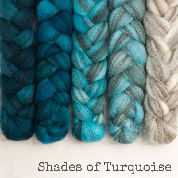 Heathered BFL Roving - Shades of Turquoise - Bundle