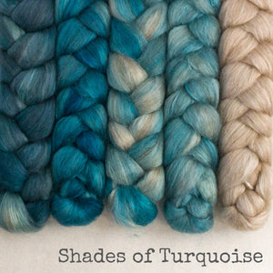 Camel Silk Roving - Shades of Turquoise - Bundle