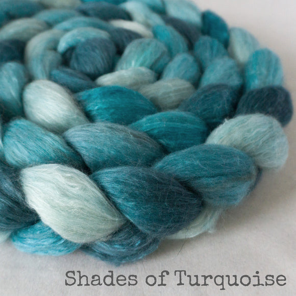 Merino Camel Silk Roving - Shades of Turquoise