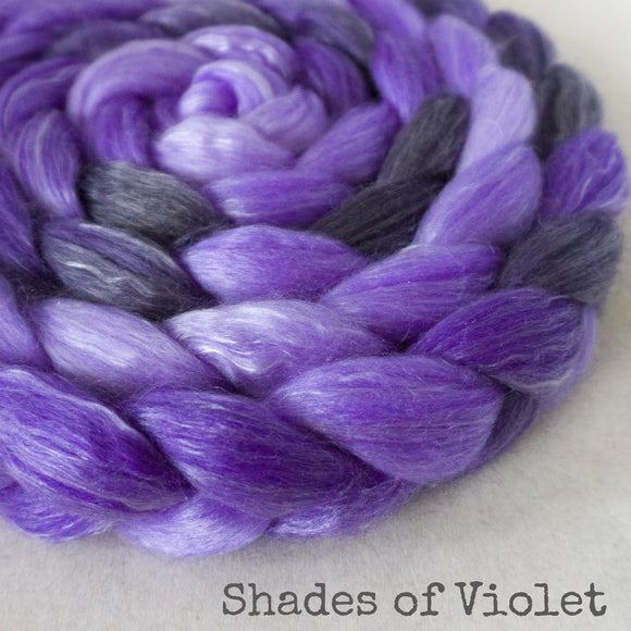 Merino Tencel Roving - Shades of Violet