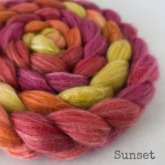 Merino Bamboo Silk Roving - Sunset