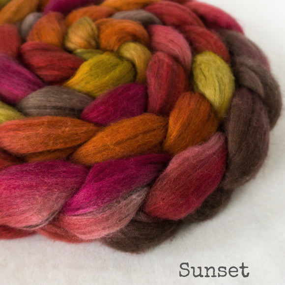 Merino Yak Silk Roving - Old Sunset