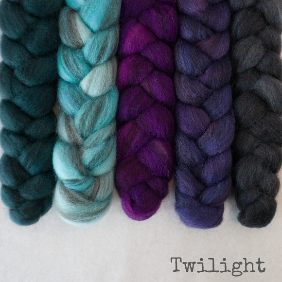 Heathered BFL Roving - Twilight - Bundle