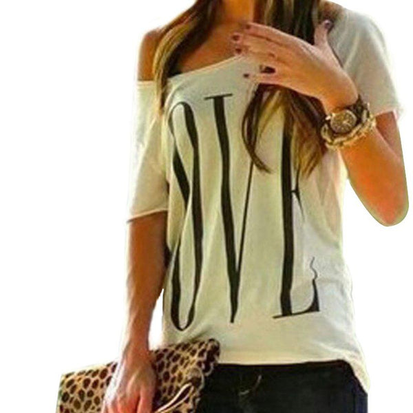 Loose One Shoulder Cotton Tops