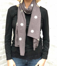 Plain scarf with silver foil dots