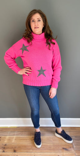 Role neck knitted star jumper