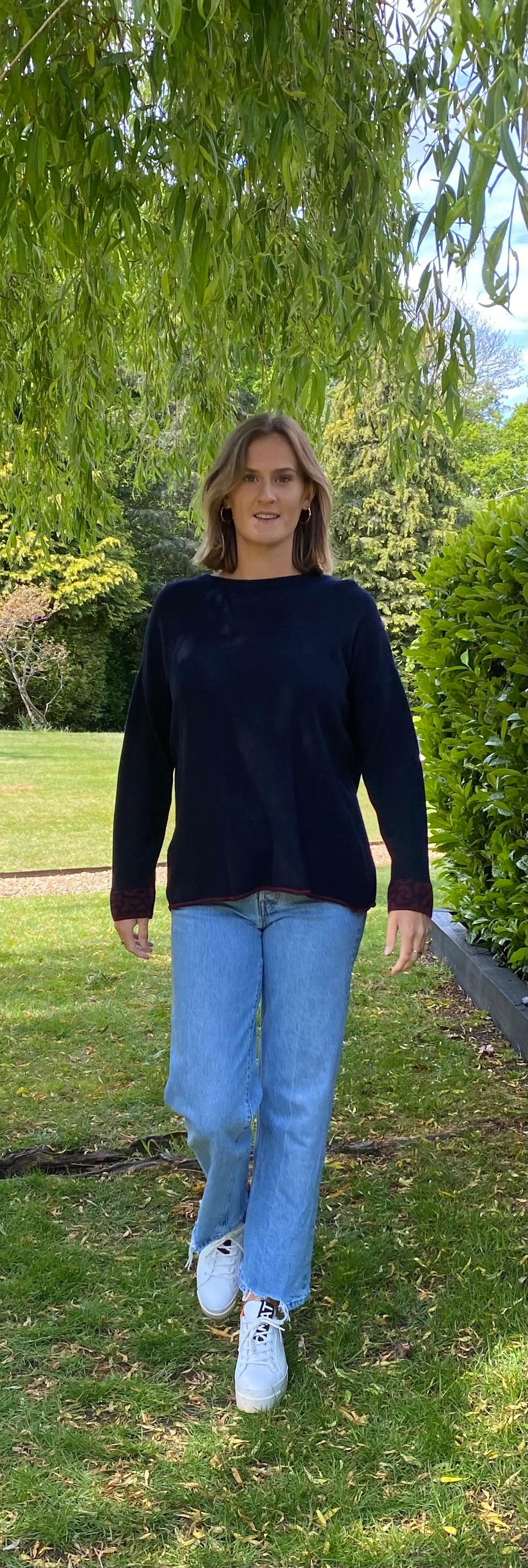 Navy and Maroon Leopard Cashmere Blend Jumper