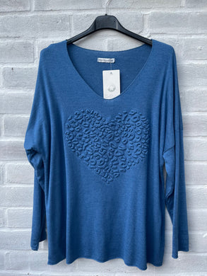 Embossed heart light weight jumper