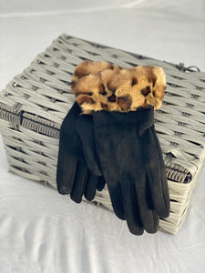 Faux suede gloves with leopard trim