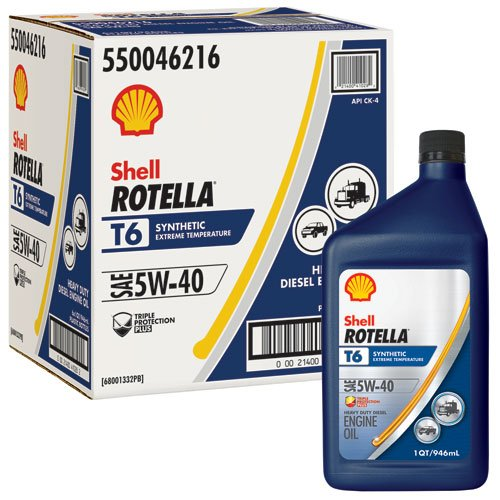 Amazon.com: Rotella T6 Synthetic Diesel Motor Oil 5W-40 CJ-4, 1 Quart - Pack of 6: Automotive