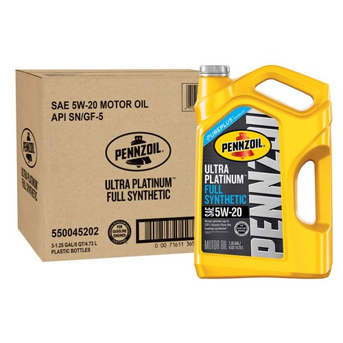 Amazon.com: Pennzoil Ultra Platinum Full Synthetic Motor Oil 5W-20, 5 Quart - Pack of 3: Automotive