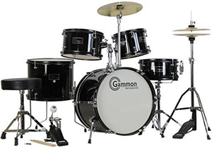 Amazon.com: Gammon 5-Piece Junior Starter Drum Kit with Cymbals, Hardware, Sticks, & Throne - Black: Musical Instruments