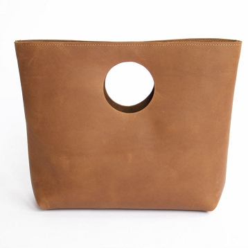 leather clutch with circle handle
