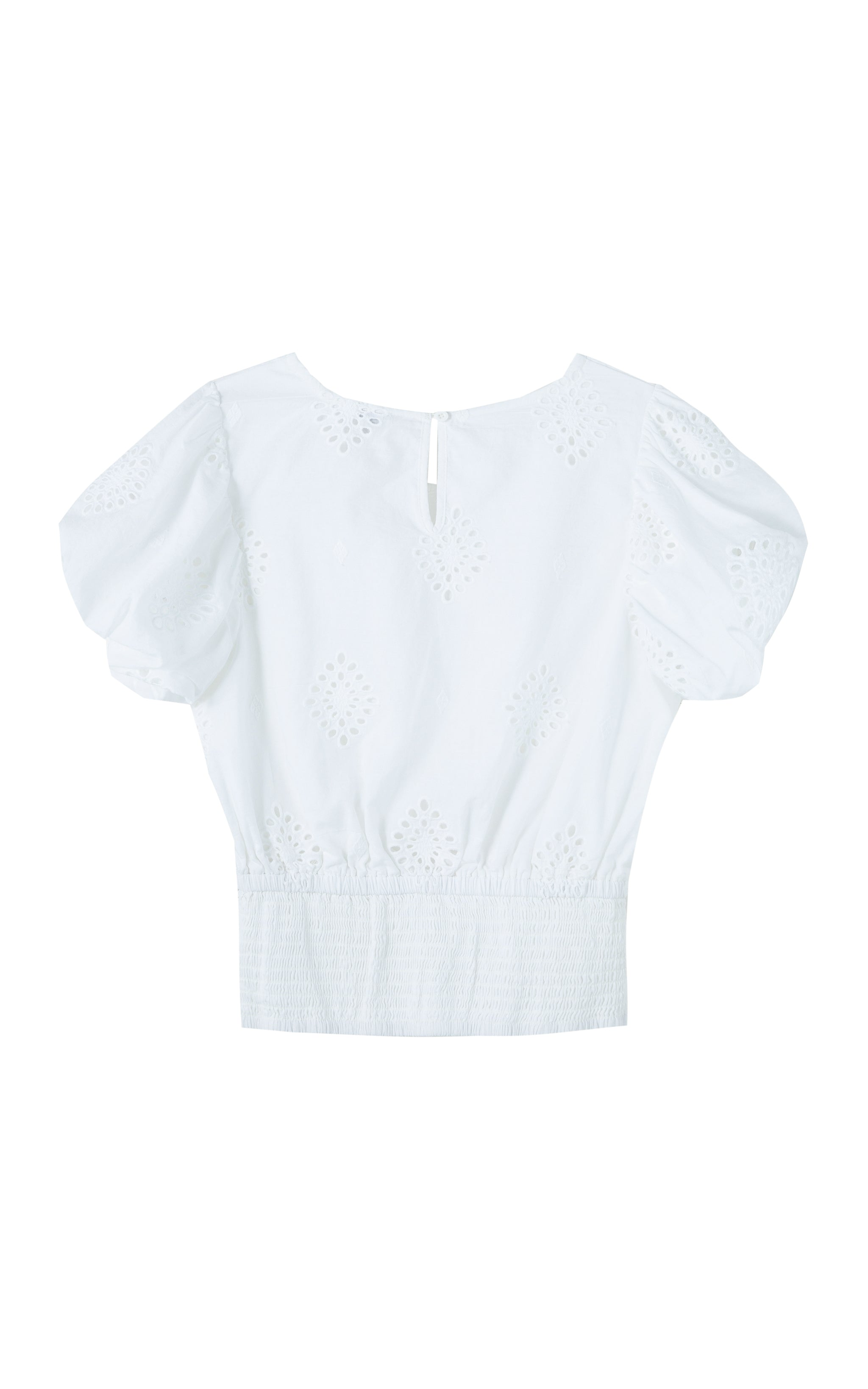 Puff Sleeve Allover Eyelet Top | 7-16