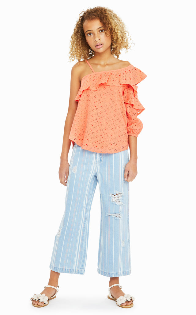 Cherie Ruffled Asymmetrical Top