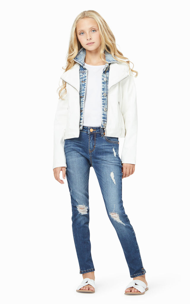 Dalilah Denim Faux Leather Jacket