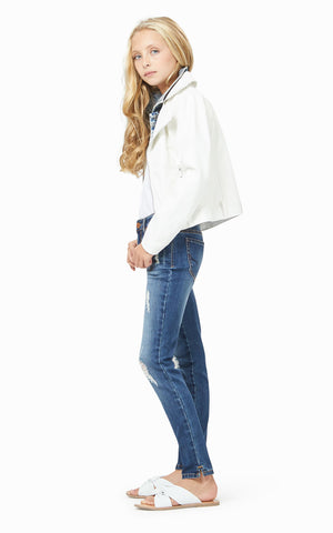 Dalilah Denim Faux Leather Jacket | 7-16 - Habitual