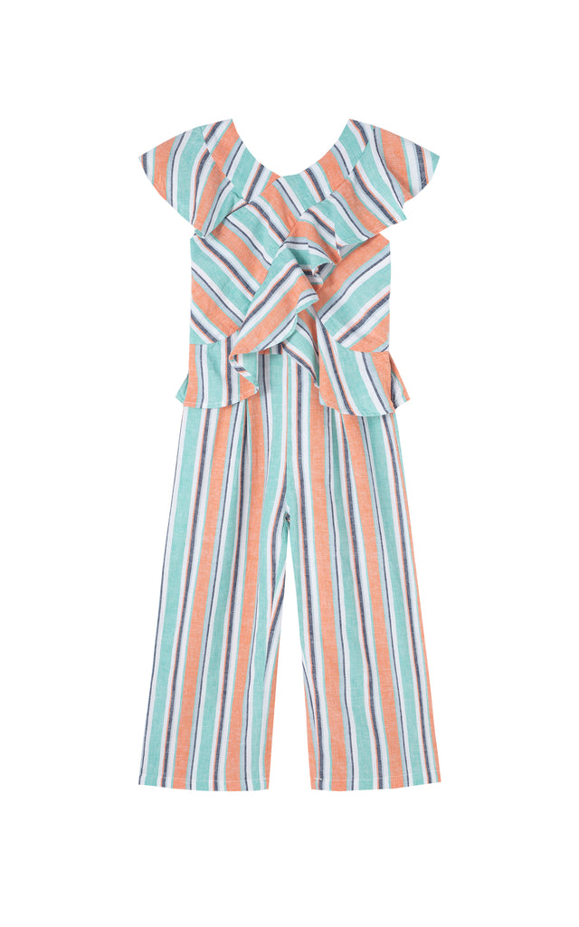 Stripe Ruffle Wrap Jumpsuit | 4-6X