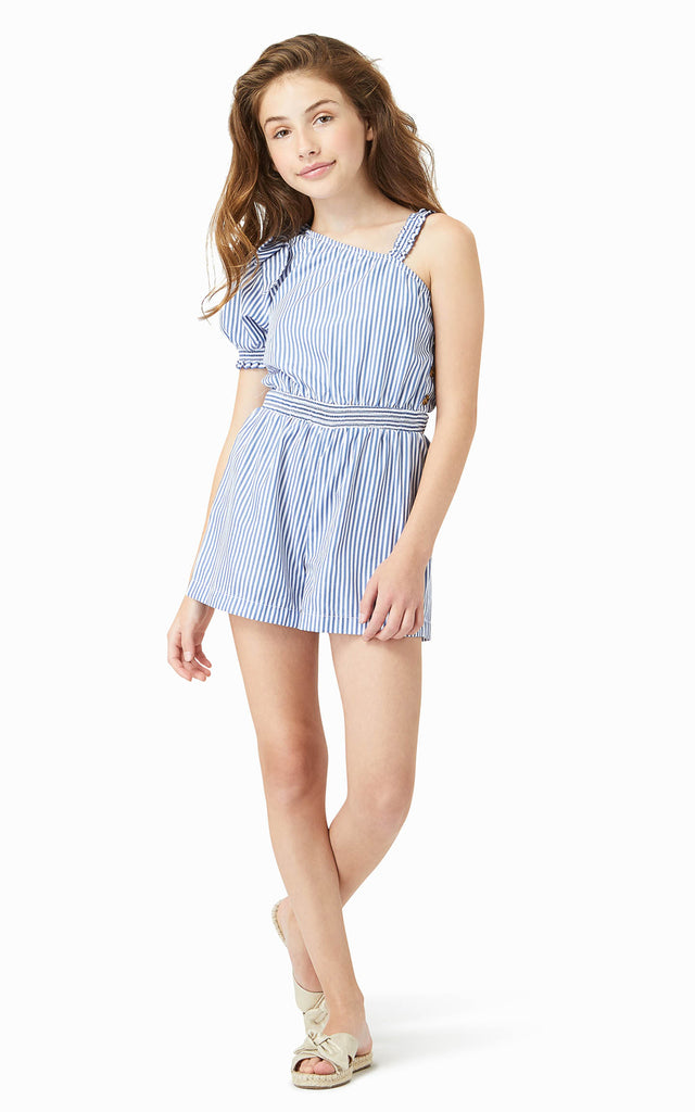 One Shoulder Stripe Romper | 4-6X