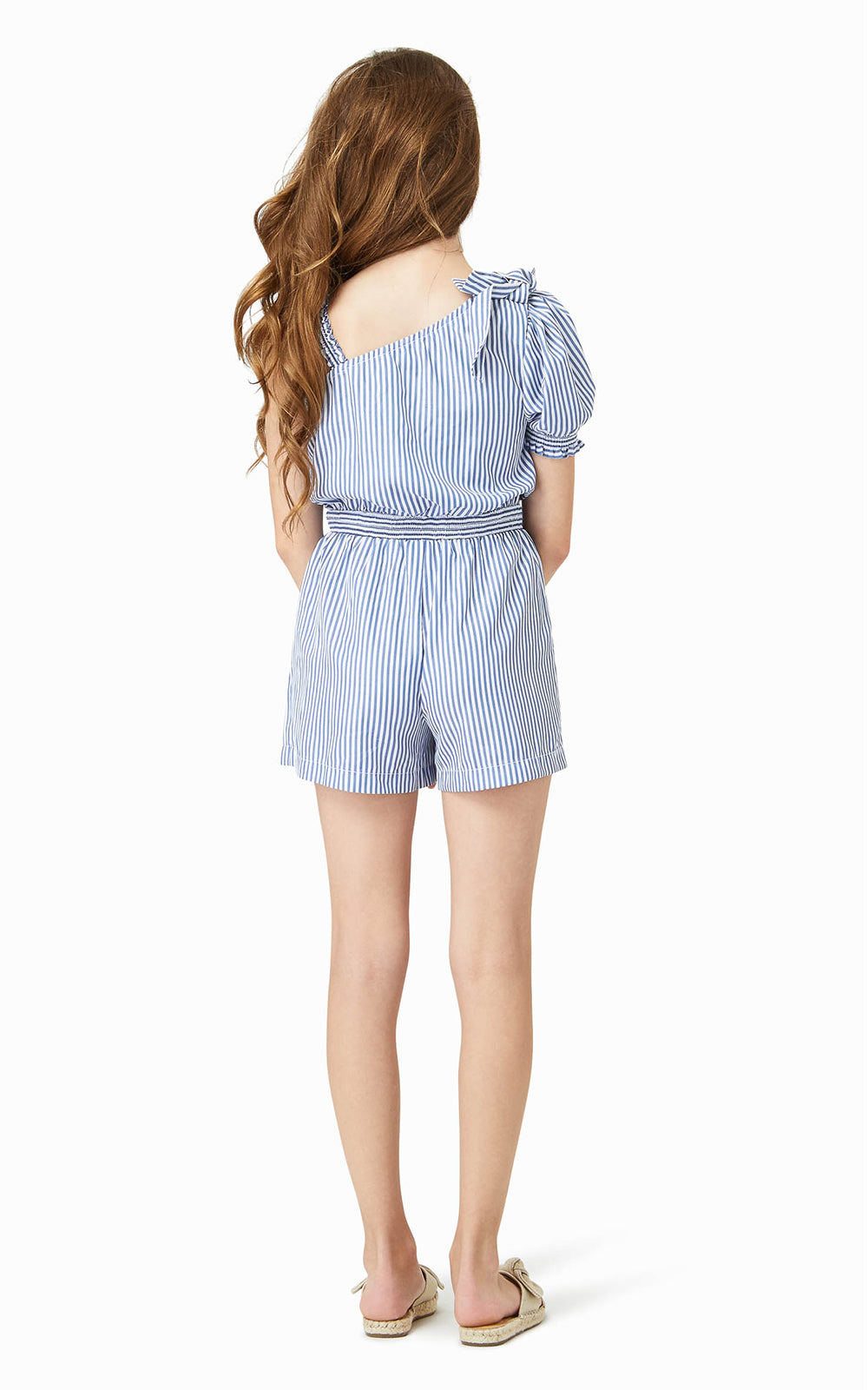 One Shoulder Stripe Romper | 4-6X - Habitual