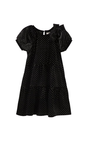 Jasmine Velour Glitter Dot Dress | 2T-4T
